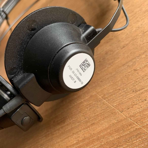 Detail of Former Air France Holmberg 95-23-09500-13 aviation headphone for sale.