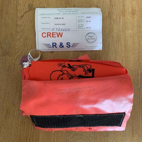 Eastern Aero Marine crew life jacket with leaflet.