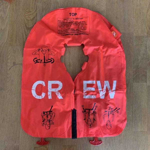 Eastern Aero Marine crew life jacket back side.